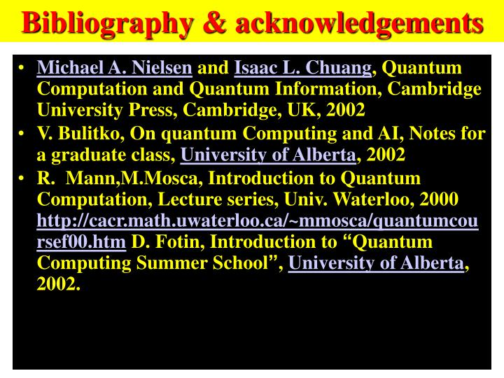Bibliography & acknowledgements
