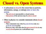 closed vs open systems