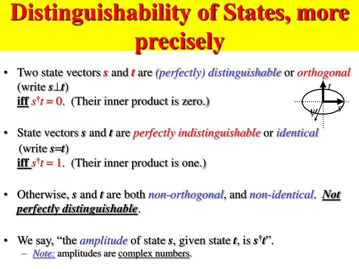 Distinguishability of States, more precisely