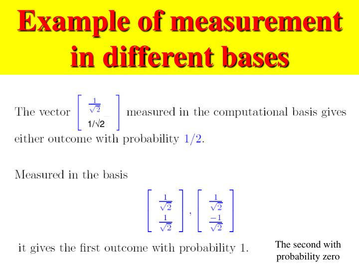 Example of measurement in different bases