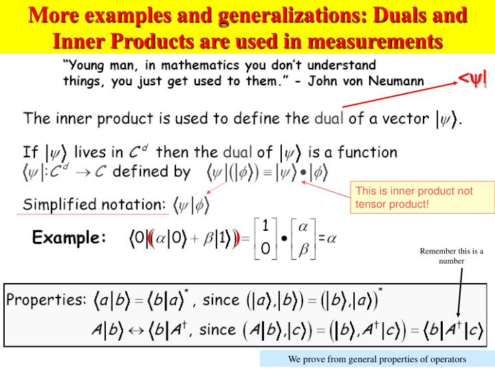 More examples and generalizations: Duals and Inner Products are used in measurements