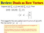 review duals as row vectors
