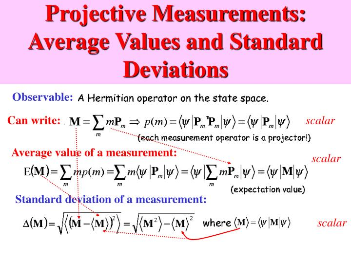 Projective Measurements: Average Values and Standard Deviations