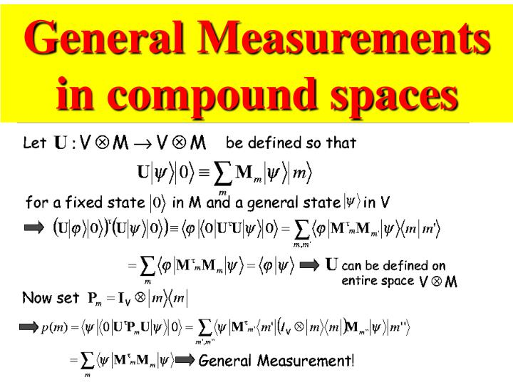 General Measurements in compound spaces