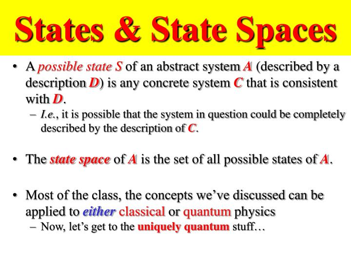 States & State Spaces