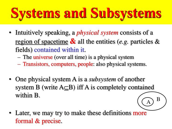 Systems and Subsystems