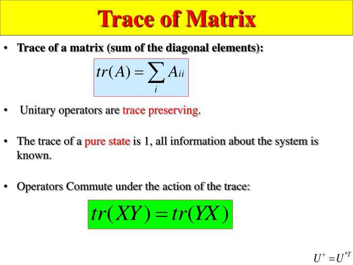 Trace of Matrix