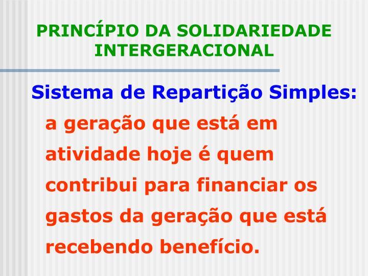 PRINCÍPIO DA SOLIDARIEDADE INTERGERACIONAL