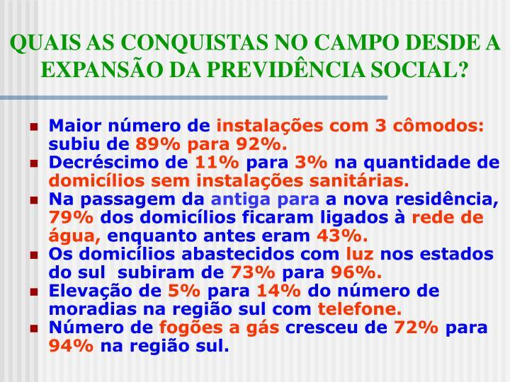 QUAIS AS CONQUISTAS NO CAMPO DESDE A EXPANSÃO DA PREVIDÊNCIA SOCIAL?