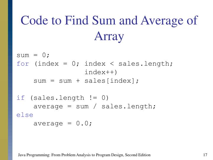 Code to Find Sum and Average of Array