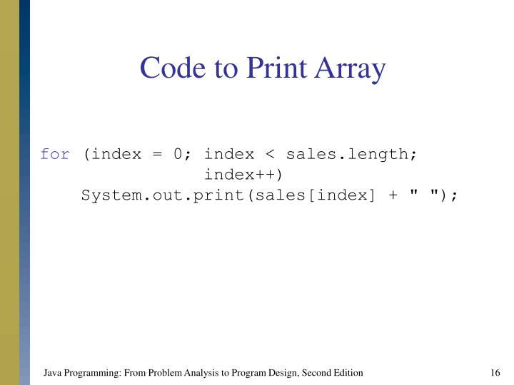 Code to Print Array