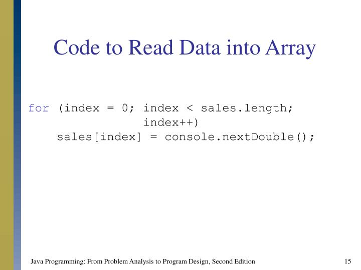 Code to Read Data into Array