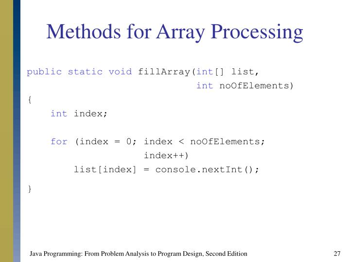 Methods for Array Processing