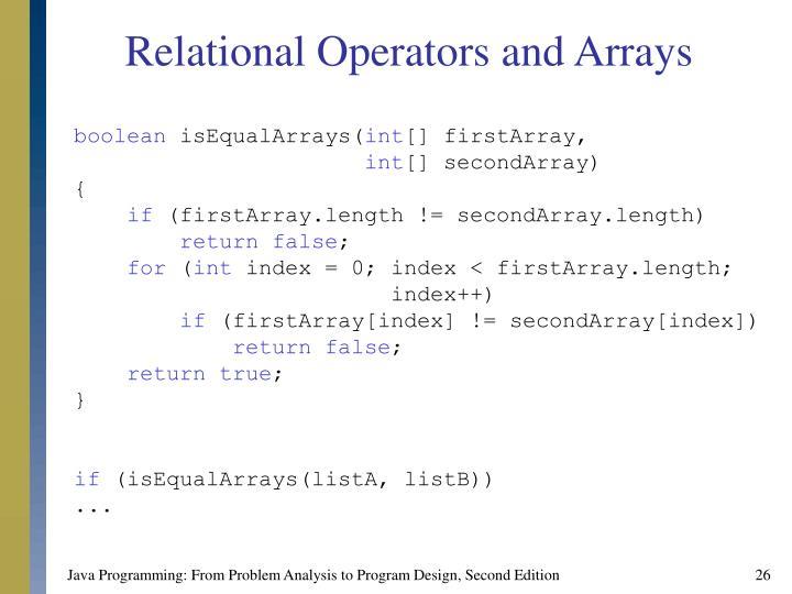 Relational Operators and Arrays