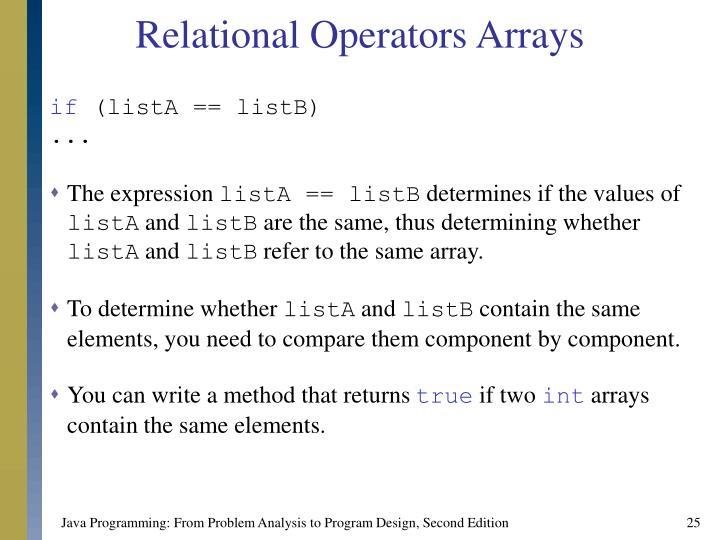 Relational Operators Arrays