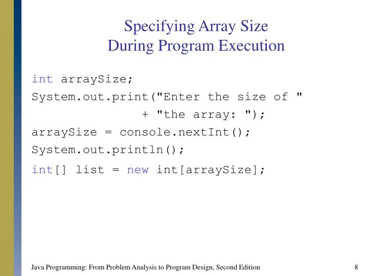 Specifying Array Size