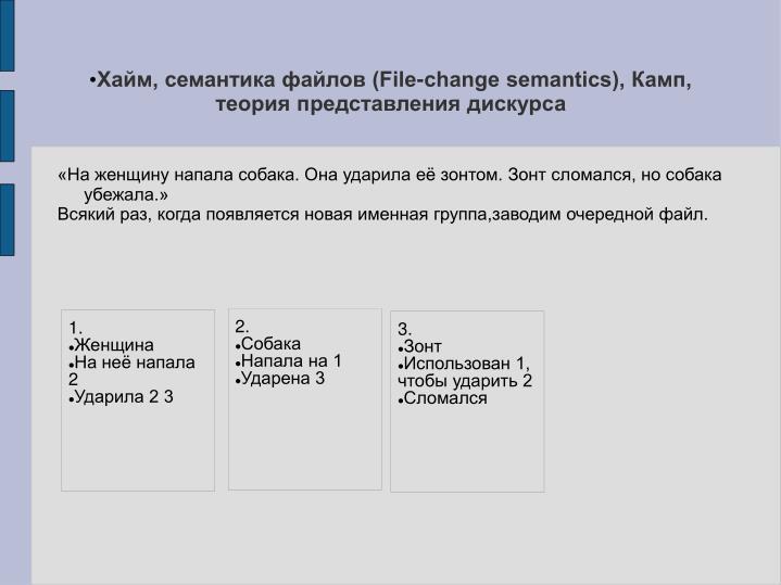 Хайм, семантика файлов (File-change semantics), Камп, теория представления дискурса