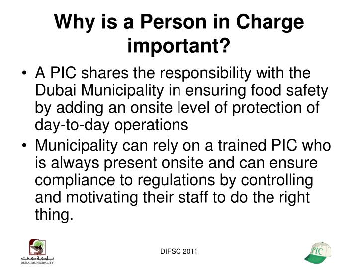 Why is a Person in Charge important?