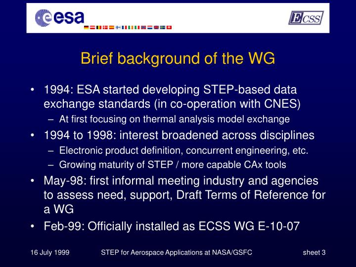 Brief background of the WG