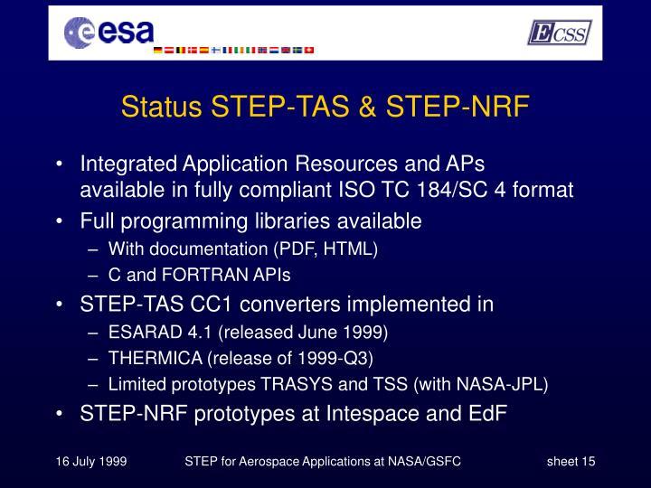 Status STEP-TAS & STEP-NRF