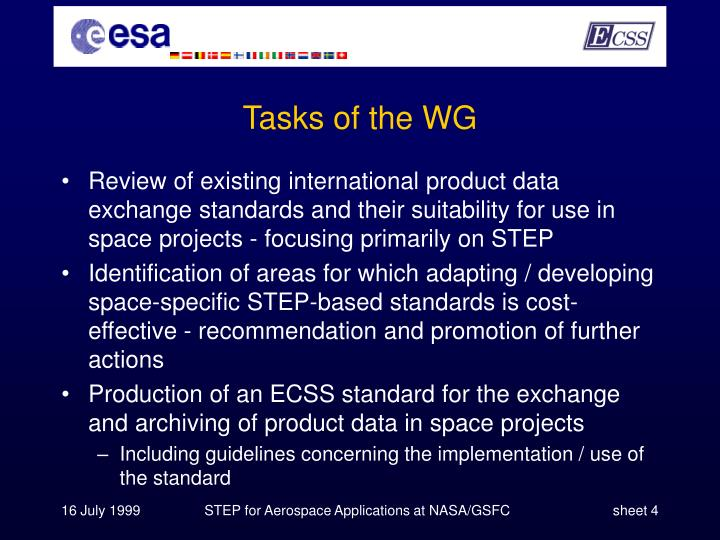 Tasks of the WG