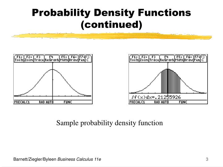 Probability density functions continued