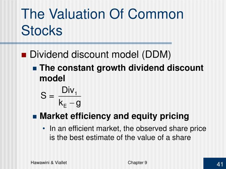 The Valuation Of Common Stocks
