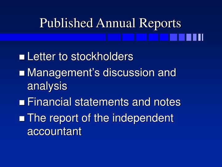 Published Annual Reports