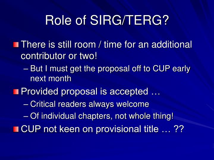Role of SIRG/TERG?