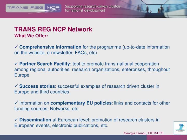 TRANS REG NCP Network