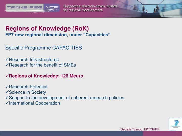 Regions of Knowledge (RoK)