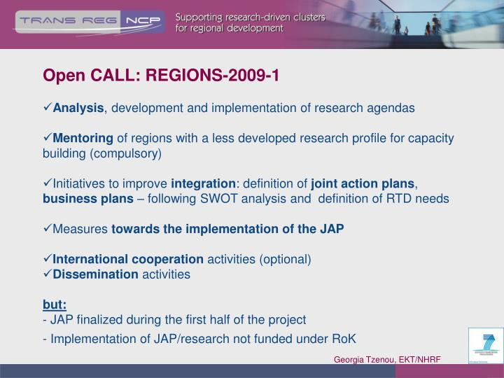 Open CALL: REGIONS-2009-1