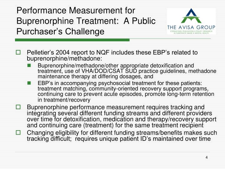 Performance Measurement for Buprenorphine Treatment:  A Public Purchaser's Challenge