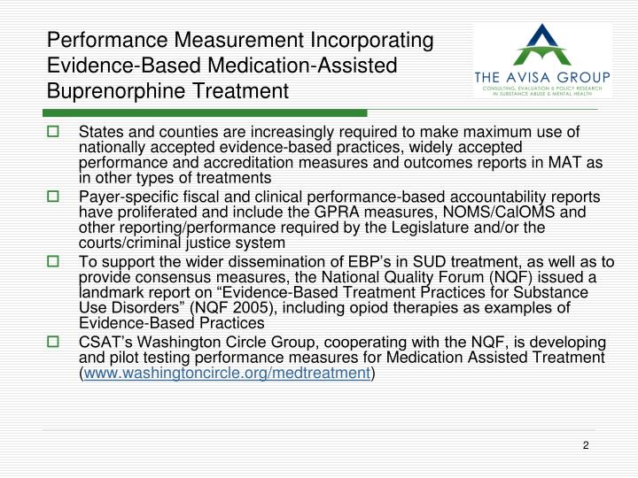 Performance Measurement Incorporating Evidence-Based Medication-Assisted Buprenorphine Treatment