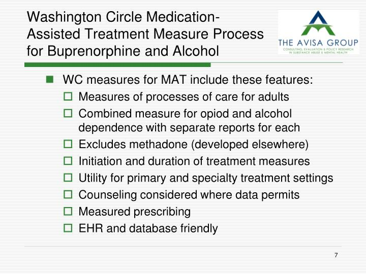 Washington Circle Medication-Assisted Treatment Measure Process for Buprenorphine and Alcohol
