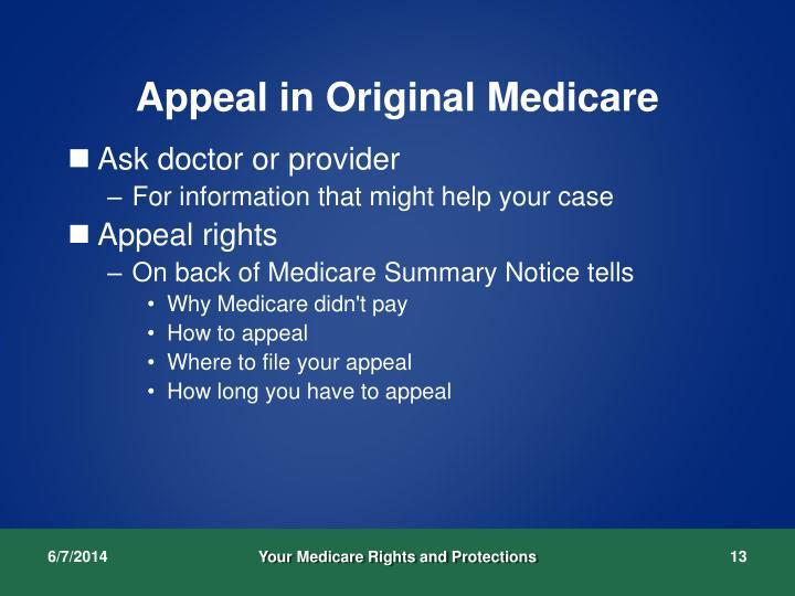 Appeal in Original Medicare