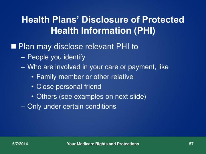 Health Plans' Disclosure of Protected Health Information (PHI)