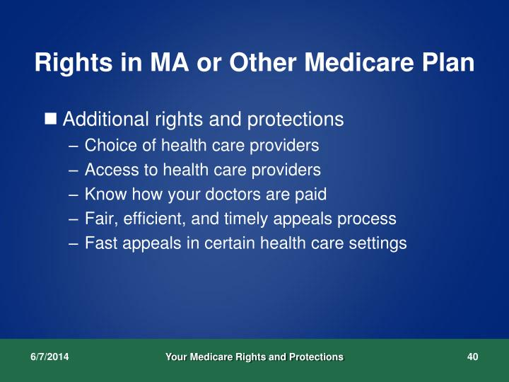 Rights in MA or Other Medicare Plan