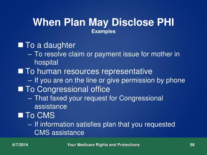 When Plan May Disclose PHI