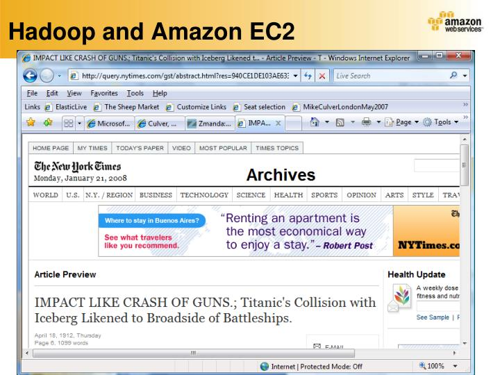 Hadoop and Amazon EC2
