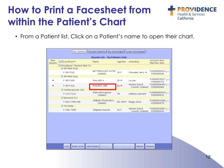 How to Print a Facesheet from