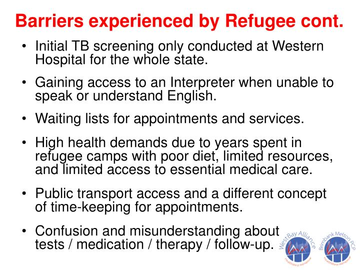 Barriers experienced by Refugee cont.