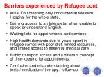 barriers experienced by refugee cont