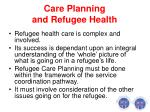 care planning and refugee health