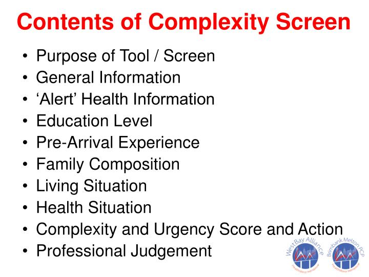 Contents of Complexity Screen