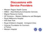 discussions with service providers