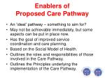 enablers of proposed care pathway