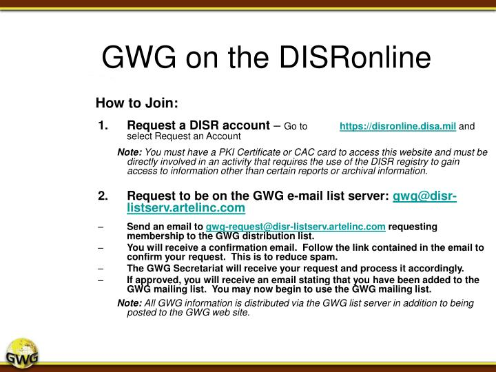 GWG on the DISRonline