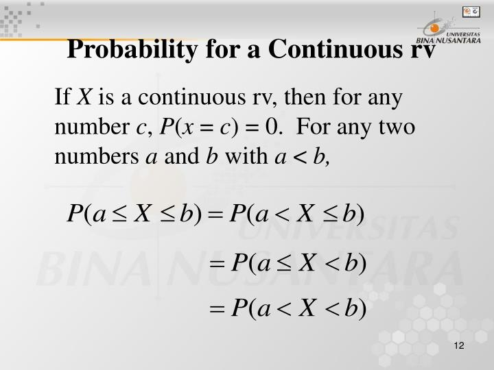 Probability for a Continuous rv