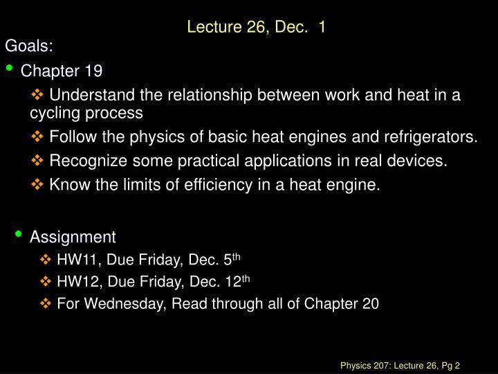 Lecture 26, Dec.  1
